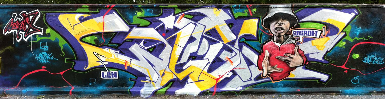"""Socrome graffiti : lettrage """"Wesh"""" et portrait de Guizmo"""