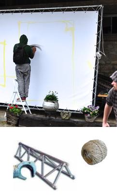 Performance graffiti - street art. Support bâche PVC